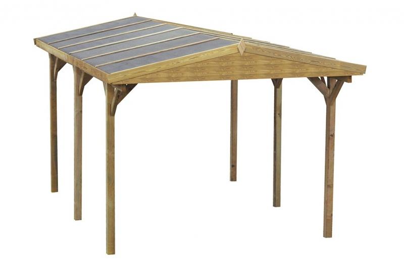 Carport 300x500 cm 90mm z drewnianym dachem