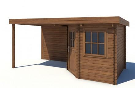 Domek ogrodowy 240x240+240 cm brązowy narożnikowy dach jednospadowy