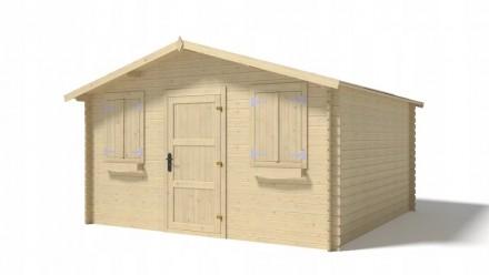 Domek drewniany 16m2 400x400 28mm pełne drzwi