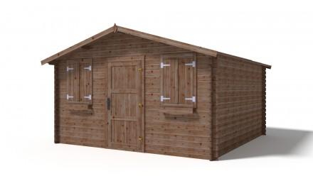 Domek ogrodowy KOMFORT 400x400 cm brązowy pojedyncze pełne drzwi