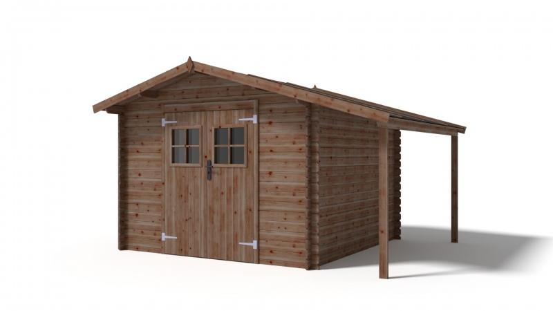 Domek ogrodowy 300x300+100 cm brązowy