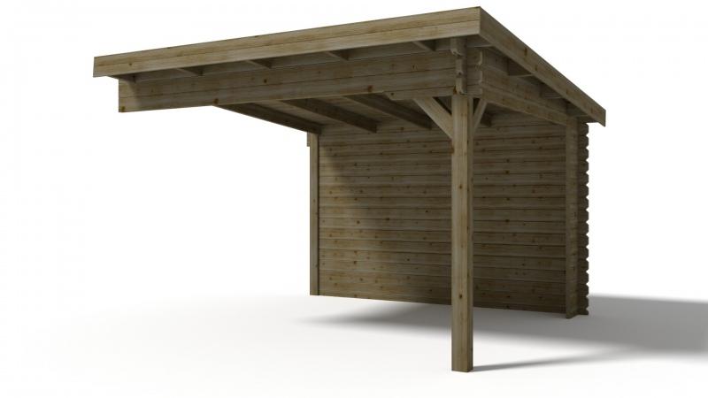 Dostawka do domku jednospadowego 350x350 cm 45mm zielony