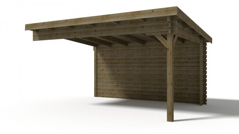 Dostawka do domku jednospadowego 450x350 cm 45mm zielony