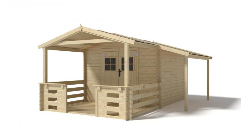 Domek 3x3+1 nieimpregnowany drewutnia + taras 3x2