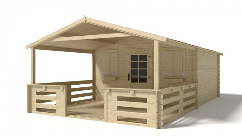 Domek ogrodowy altanka 4x3 28mm + taras 4x3