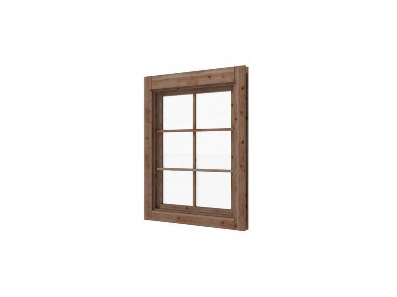 Okno prawe z szybą do domków altanek 45mm brąz