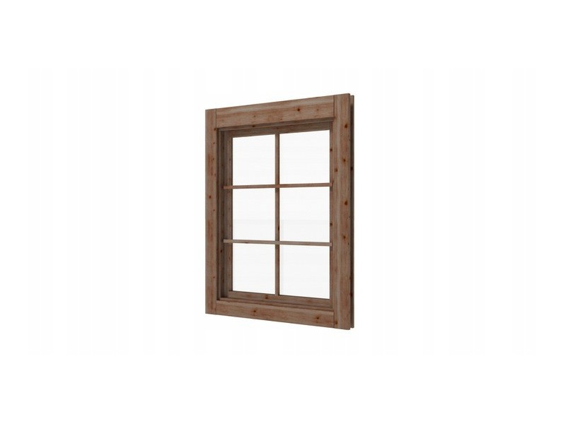 Okno lewe z szybą do domków altanek 45mm  brąz