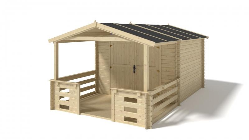 Domek ogrodowy 3x3+2 m nieimpregnowany z werandą
