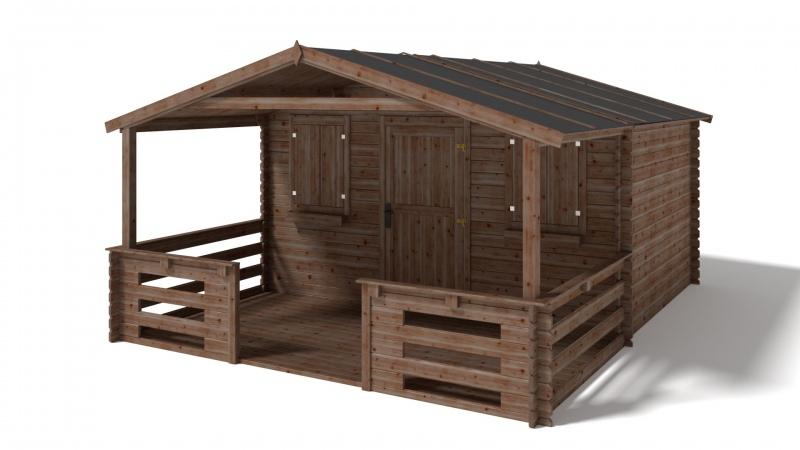 Domek ogrodowy 4x4+2 m brązowy z werandą i podłogą