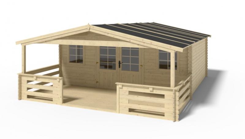 Domek ogrodowy 5x4+2 m nieimpregnowany z werandą i podłogą