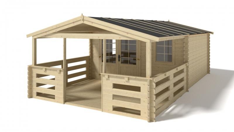Domek drewniany 16m2 400x400 4x4 28mm nieimpregnowany