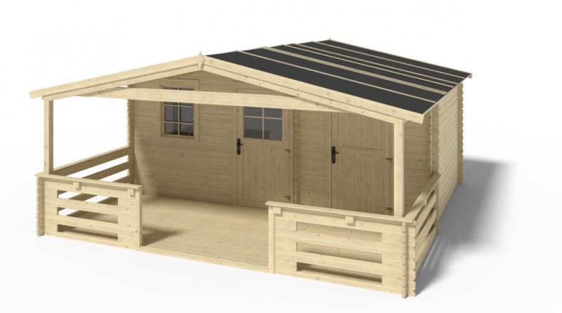 Domek ogrodowy altanka z dwoma pomieszczeniami 5x3 m + taras 5x2 m