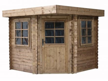 Domek ogrodowy 240x240 cm brązowy narożnikowy płaski dach