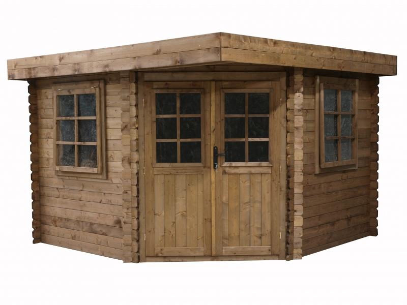 Domek ogrodowy 300x300 cm brązowy narożnikowy płaski dach