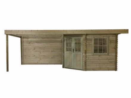 Domek ogrodowy 300x300+300 cm zielony narożnikowy płaski dach