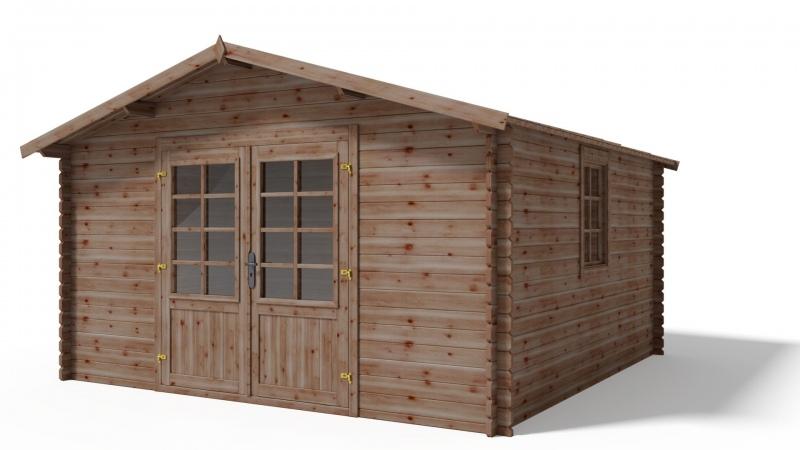 Domek ogrodowy 3,9x3,9m 34mm impregnowany BRĄZ