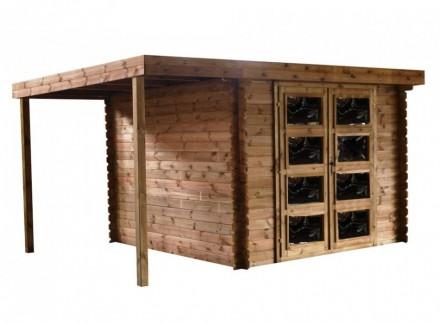Domek ogrodowy 300x300+120 cm brązowy