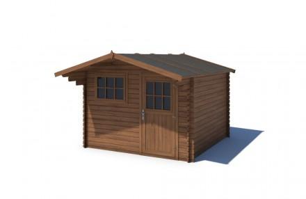 Domek ogrodowy KOMFORT 300x250+90 cm brązowy