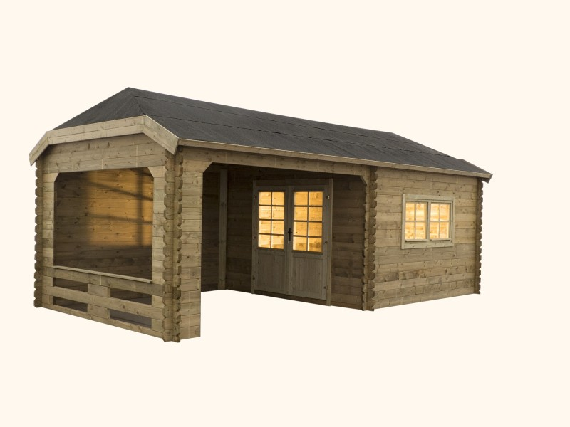 Domek ogrodowy 350x350+350x350 cm impregnowany ZIELONY