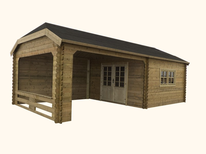 Domek ogrodowy 400x400+400x400 cm impregnowany ZIELONY