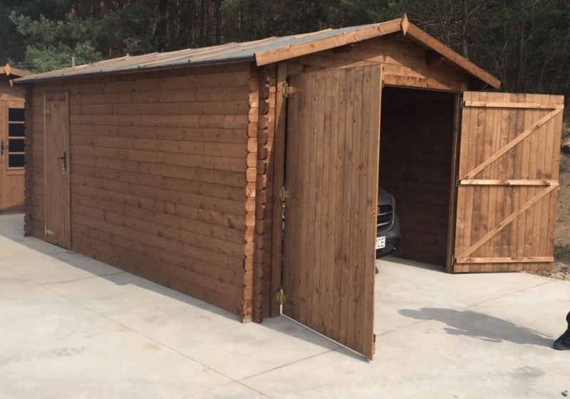 Garaż drewniany 300x500 cm brązowy