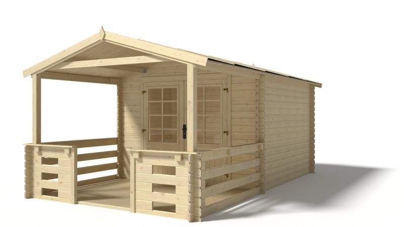 Domek ogrodowy 300x300+200 cm nieimpregnowany z werandą