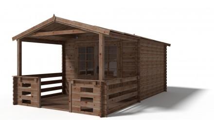 Domek ogrodowy 300x300+200 cm impregnowany brązowy z werandą
