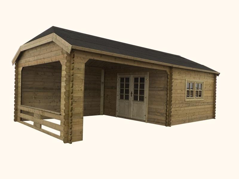 Domek ogrodowy 500x400+400x400 cm impregnowany ZIELONY