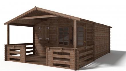 Domek ogrodowy 400x400+200 cm impregnowany brązowy z werandą i podłogą