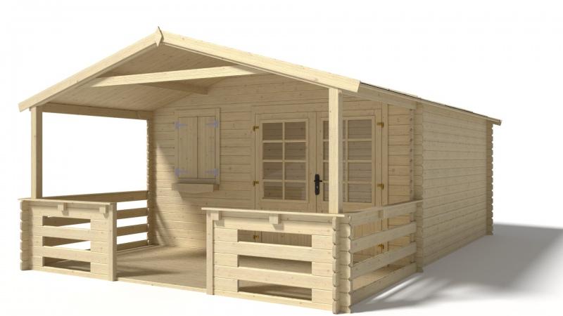 Domek ogrodowy 400x400+200 cm nieimpregnowany z werandą i podłogą